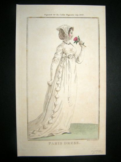 Lady's Magazine 1802 H/Col Regency Fashion Print. Paris Dress 17 | Albion Prints